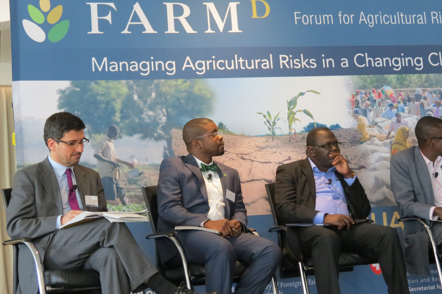 "FARM-D Session 6 on ""Climate Change and Ag‐Risk: Policy Makers' Nightmare?"" discussions with representatives of (from the left): PARM, Senior Programme Manager, Government of Nigeria, COMESA and ECOWAS"