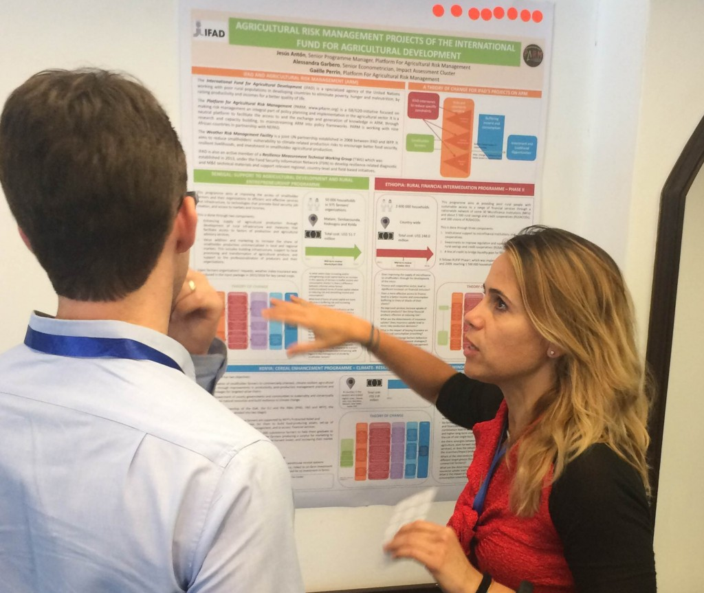 Alessandra Garbero (Senior Econometrician, IFAD Impact Assesment Cluster) presenting the poster prepared in collaboration with the PARM team on three IFAD projects related to Agricultural Risk Management