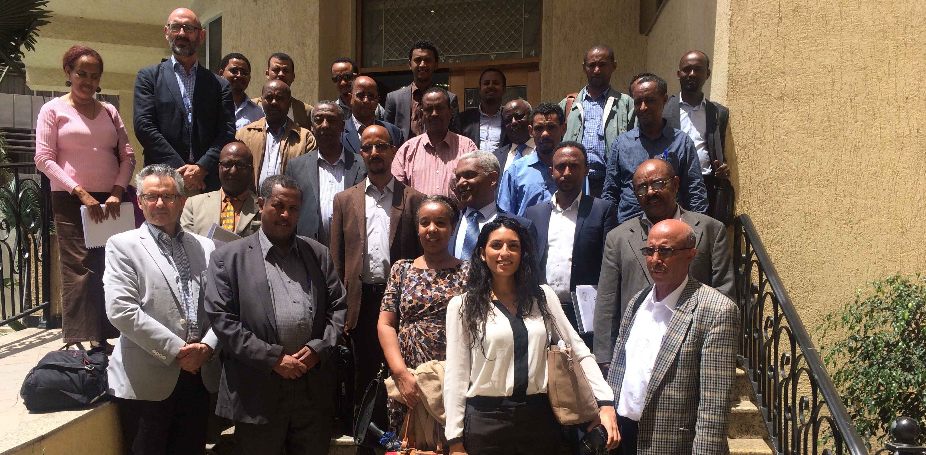 Representative of ATA and local experts together with the CEIGRAM Experts and PARM Representative during the Information Systems Seminar for Agricultural Risk Management in Addis, 31 May 2016
